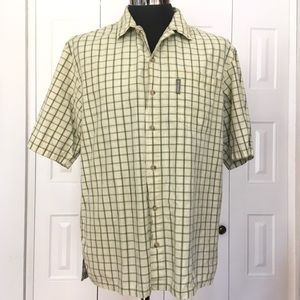 COLUMBIA green and pale yellow plaid shirt